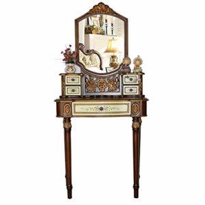 Lahiue Table de Maquillage avec Miroir Appartement Chambre Meubles en Bois Massif Coiffeuse Painted Table (Couleur : Vert, Taille : 75cmx40cmx163cm)