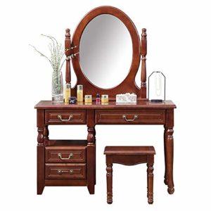 Lahiue Table de Maquillage avec Miroir Maquillage Coiffeuse 4 tiroirs (Couleur, Taille : Free)