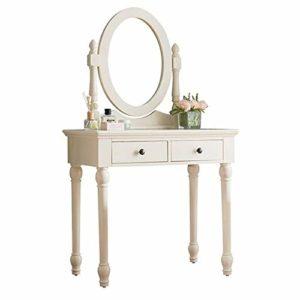 Lahiue Table de Maquillage avec Miroir Minimaliste Fille Coiffeuse américaine Coiffeuse (Couleur : Blanc, Taille : 85cmx45cmx146cm)