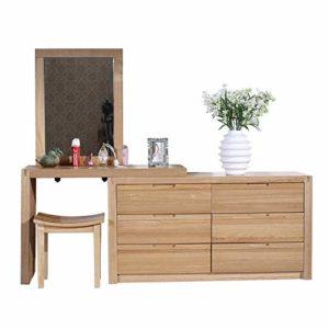 Lahiue Table de Maquillage avec Miroir Set de Table avec Tabouret (Couleur, Taille : Free Size)