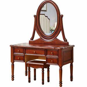Lahiue Table de Maquillage avec Miroir Table avec 5 tiroirs Bureau avec 1 Tabouret (Couleur, Taille : Free)