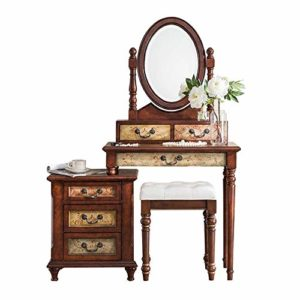 Lahiue Table de Maquillage avec Miroir Table en Bois Massif Table de Chevet rétro Coiffeuse Combinaison avec Les selles (Couleur : Naturel, Taille : 120cmx40cmx155cm)