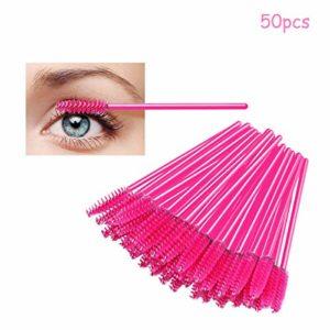 LUVODI Lot de 50 Brosses à Cils Jetables Applicateur Mascara Pour Cils et Sourcils Kit Pinceaux pour Extensions de Cils – Rouge