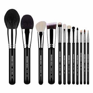 Maquillage Brush Set 12 Pièces Pinceau Poudre Débutant Durable Ombre à paupières Pinceau Profession Maquillage Naturel Fixe Noir