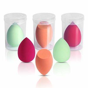 Maquillage Eponges, Belicoo Mélangeur de beauté, 6Pcs Sans latex Éponges de fondation pour les cosmétiques liquides/en poudre/crème. Multicolore Éponges de maquillage avec Sac de voyage transparent