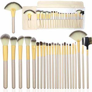 McNory 24 Pcs Professional Maquillage Set de Brosse Maquillage Kit de Toilette Set de Brosse Pinceau,Ombre à Paupière,Sourcils, Fond de Teint,Pinceau à lèvre avec