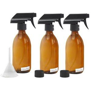 Nomara Organics® Ensemble de flacons vaporisateurs en verre ambré 3 x 300 ml. Rechargeable, salle de bain/beauté bio/huiles essentielles