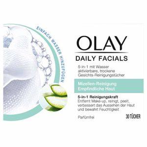 Olay Olay Daily Facials Maquillage pour peaux sensibles, 30 lingettes pour le visage, 74 g
