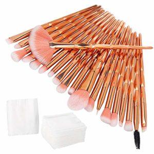 Pinceau de Maquillage Diamant, INTVN Professional Maquillage Set de Brosse Maquillage Kit de Toilette Set de Brosse (20 Pinceau de Maquillage + 30 Coussinets en Coton)