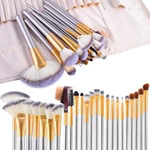 Pinceaux Maquillage, Vander 24 pinceaux de maquillage professionnels, pinceaux de maquillage synthétiques de qualité supérieure pour fond de teint, blush, Champagne
