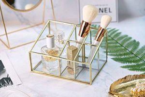 PuTwo Rangement Maquillage 5 Compartiments Organisateur Maquillage en Verre Pot Rangement Maquillage Idéal Pour Ranger Parfums, Pinceaux Maquillage, Rouges à Lèvres, Vernis à Ongles – Doré