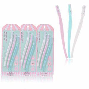 Qpower 3 Set Sourcils Rasoir Brow Trimmer Shaper Épilation Dermaplaning Outil, Femmes Blade Shaver Cosmétiques