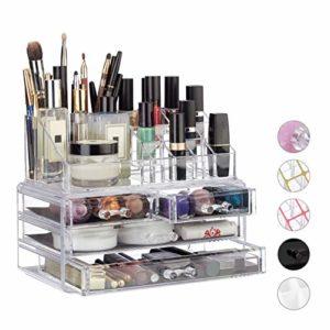 Relaxdays Organisateur cosmétiques 2 parties boîte rangement maquillage Make up 12 porte-crayons, transparent
