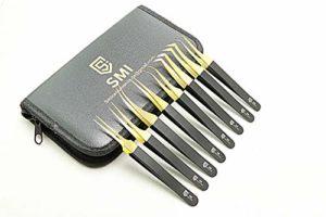 SMI – 8 Pcs pince à allonger les cils incurvé, Pinces à cheveux, pince à cils professionnelle, pincettes de précision droites acier inoxydable