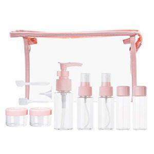 Tiang Lot de 11récipients de voyage, Distributeur de savon liquide, pour shampooing, Cosmétique, Maquillage, avec sacs de rangement transparents, facile à transporter