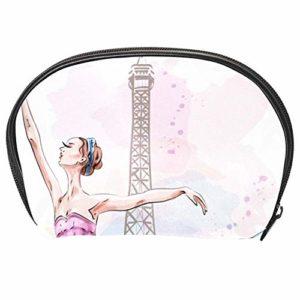 TIZORAX Sac à cosmétiques de voyage avec ballerine dansante fille sur la tour Eiffel Organiseur pratique sac de maquillage sac à main pour femmes filles