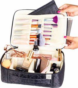 Trousse à maquillage de voyage de Ellis James Designs – Trousses de maquillage élégantes et à grand compartiment – maquillage, articles de toilette, cosmétiques – Cadeau de luxe pour femmes