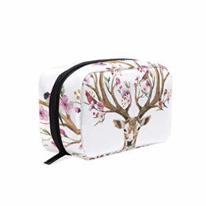 Trousse de maquillage cerf en bois de cerf et fleurs oiseaux sur cornes