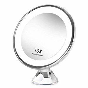 Vaorwne 10X Grossissant Maquillage Miroir de Toilette Portable avec LED LumièRe Ventouse 360 Degré Rotation Maquillage Loupe Maison de Bureau Salle de Bains