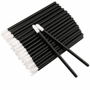 100 pcs Jetables Lèvres Pinceaux,Brosse à lèvres jetable,jetable Brosse brillant Applicateur Parfait Outil de maquillage Kits,Noir