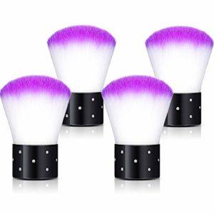 4 Pièces Brosse à Poussière Doux pour Ongles Pinceaux à Poudre de Art de Ongle Pinceaux Kabuki Pinceaux à Maquillage Pinceaux de Rougir pour Maquillage ou Ongles Artificiels (Violet)