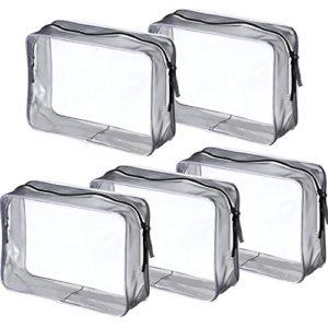 5 Pièces Sac de Toilette Clair PVC Sac Fermeture à Glissière Sac de Maquillage Cosmétique pour Les Vacances, la Salle de Bains et l'Organisation (Large, Transparent)