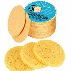 50 unités Éponges visage comprimées, GAINWELL éponges visage en cellulose, éponges spa cosmétiques 100% naturelles pour nettoyage du visage, masque exfoliant, démaquillage