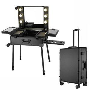 Anaelle PandamotoMallette Maquillage Trolley Beauty Case Voyage Valise Studio Table de Maquillage Pliable Artiste Cosmétique avec 6 Ampoules + 4 Roues 360°, Noir