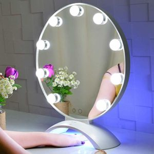 BEAUTME Hollywood Vanity Mirror with Lights, Miroir de Maquillage illuminé par Hollywood avec Un Clou UV à LED, Miroir de Table avec des Lampes avec Une Lampe à Ongles à LED (Blanc)