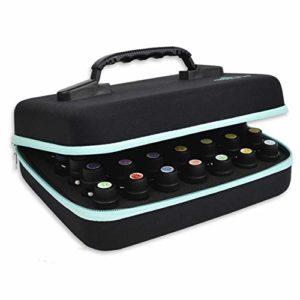 Beschan 42 Trous Boîte Huile Essentielle Aromathérapie Portable avec Poignée Sac de Rangement Trousses de Toilette Sac à Cosmétiques Voyage