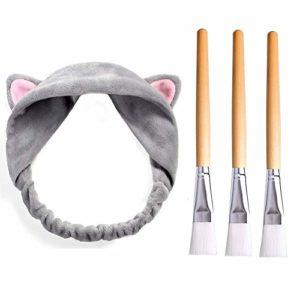 Brosse de Masque en Nylon Pinceau à Masque avec Bandeau de cheveux,JUSTIME 3Pcs brosses et 1 Bandeau-Brosses Molles pour L'application de Masque Facial pour DIY
