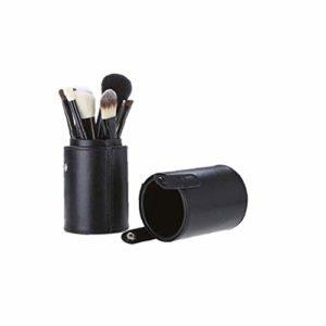 Durable maquillage en cuir PU brosse Porte-brosses professionnel Boîtier Cylindre Brosse Voyage stockage Organisateur Noir
