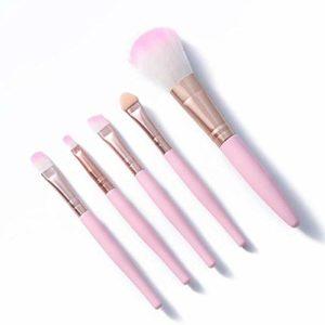 Ensemble de pinceaux de maquillage pour les yeux Ombre à paupières Eyeliner Sourcils Blush Power Maquillage du visage Outil de maquillage multifonctionnel-5pcs rose