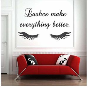 Eye Eyelashes Wall Decal Sticker Lashes Extensions Sourcils Brows Beauty Salon Home Decor Decals Amovible Vinyl Sticker 42x25cm