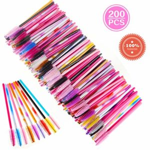 Goupillon Cils Baguettes de Mascara Jetables Cils Brosse pour Extensions 200 Pcs Multicolor