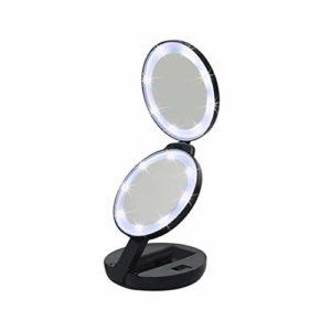 GUOOK Miroir de courtoisie de Maquillage à Double Face avec lumières éclairées Grossissement 5X Lumière Naturelle Compact Pocket Travel Mirror Battery Operated for Daily Use for Bathroom