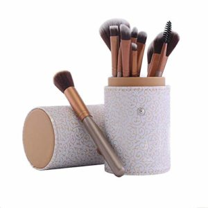 HeWan Pinceau de Maquillage-Pinceaux cosmétiques Portables pour Poudre Libre, Contour, Teinte, surligneur, Fard à paupières et Fond de Teint, 12 pièces, C