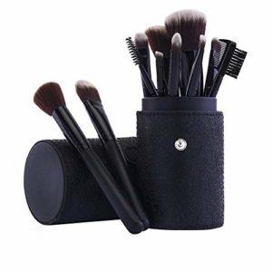 HeWan Pinceau de Maquillage-Pinceaux cosmétiques Portables pour Poudre Libre, Contour, Teinte, surligneur, Fard à paupières et Fond de Teint, 12 pièces, E