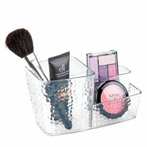 iDesign rangement maquillage, système de rangement à 3 compartiments en plastique pour le maquillage, idéal comme rangement make up, transparent