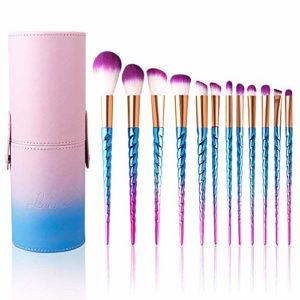 Leeron Lot de 12 pinceaux de maquillage professionnels doux et colorés Rose