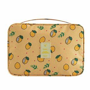 LFYOU Grand sac de maquillage portable pour femme Motif floral Gris citron beige Jaune citron