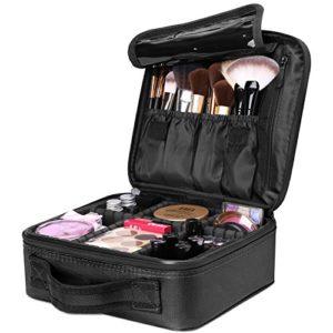 Luxspire Makeup Étui de Rangement Cosmétique, Maquillage Professionnel Ensemble Portable Sac de Rangement Pinceaux avec Diviseurs Réglables, Noir
