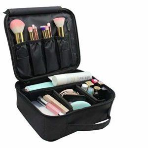 Malette Maquillage,Trousse de Maquillage,Pochette de Maquillage Portative de Compartiments organisateur de sac de maquillage brosses de maquillage mallette portative de rangement Noir