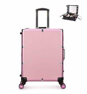 Mallette Maquillage Trolley Beauty Case Voyage Valise Studio Table De Maquillage Pliable Artiste Cosmétique Avec 5W*6 Ampoules + 4 Roues 360° 45X23x60cm,Orange
