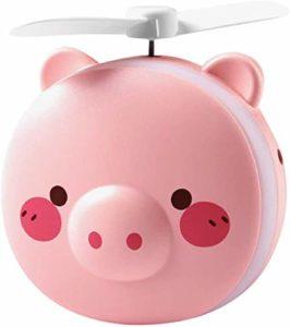 Mini ventilateur portable et miroir de maquillage LED, charge USB 3 en 1, ventilateur de voyage multifonction portable pour les filles (cochon aux yeux ronds roses)