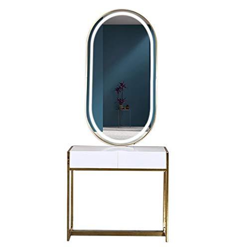 Miroir De Salon De Coiffure, Table De Salon De Coiffure, Sur Pied, Salon De Beauté, LED Avec Lumière