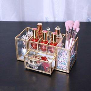 NoBrand Stockage de Bureau cosmétiques BoxGlass Boîte de Rangement Manucure Soins de la Peau Brosse cosmétiques cuivre Outil JIA (Color : Copper)