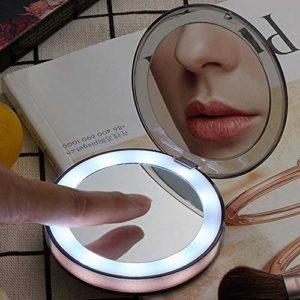 NoneBrand Accessoires de Maquillage portatifs Femmes Miroirs de Maquillage Pliables Miroirs à Main cosmétiques universels Lady Mini LED Lights