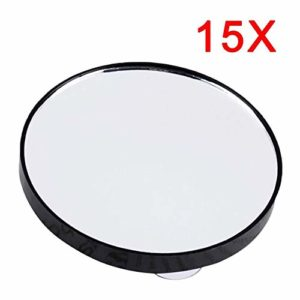 NoneBrand Portable Vanity Mini Pocket Miroirs de Maquillage Ronds 15X Miroir grossissant avec Deux ventouses Compact Cosmetic Mirror Tool