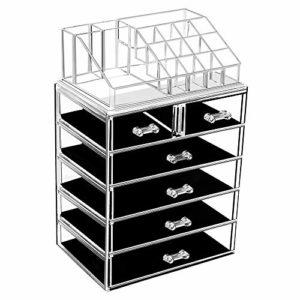 Organiseur de maquillage en acrylique avec 6 tiroirs de rangement et boîte à bijoux